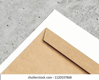 Brown envelope and white paper on concrete background, 3d rendering