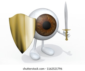 Brown eye ball with sword and shield, 3d illustration