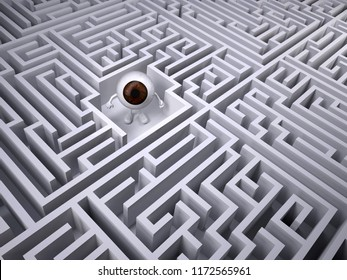 Brown eyeball inside the labyrinth maze, 3d illustration