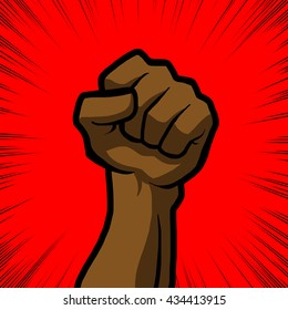 brown fist with red background
