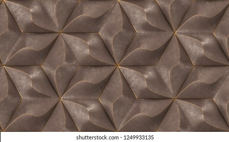Brown geometry tiles with gold frayed edges.High quality seamless realistic texture.
