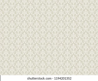 Brown gold damask wallpaper with white floral patterns