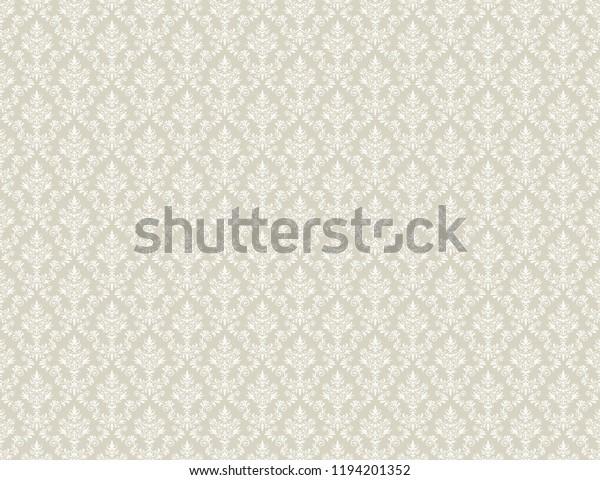 Brown Gold Damask Wallpaper White Floral Stock Illustration 1194201352