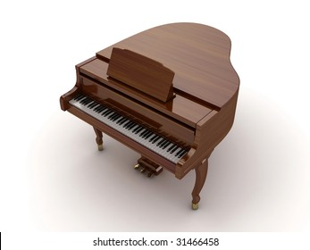 Brown grand piano isolated on light background