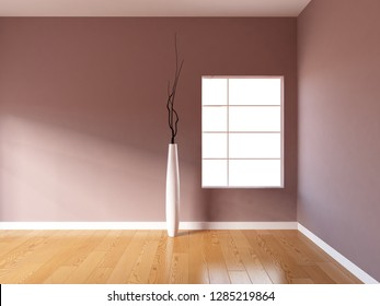 brown granite empty interior with a window and vase. 3d illustration