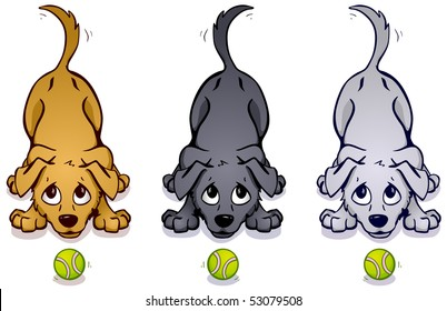 Brown, gray, and white dogs wagging their tails with tennis balls in front of them. Vector version available in portfolio.