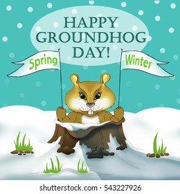 Brown groundhog. Cute hand drawn cartoon character with flag. Symbol of spring, sign, logo of Groundhog Day. Element for print, banner, greeting card. Weather prediction sign in USA. Nature background