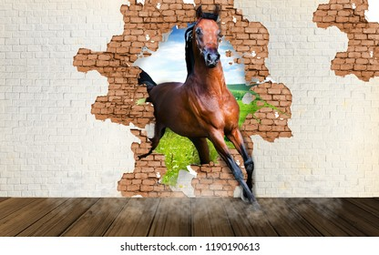 Brown horse runs into the room. Wallpapers for interior decor. 3D rendering.