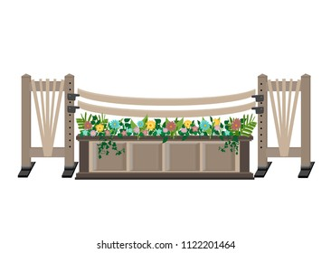 Brown hunter horse show jump with colourful flowers in a panel planter, curved rails, and fan trellis decorating the jump standards.