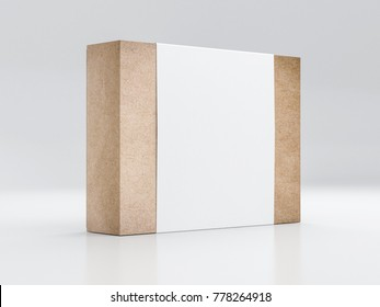 Brown Kraft paper Box Mockup with white paper sleeve, 3d rendering