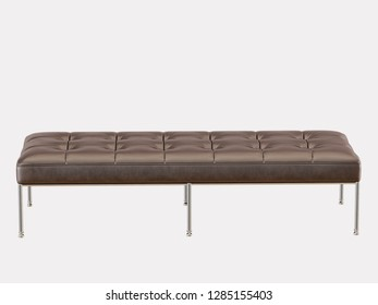 Brown leather bench capitone on a white background 3d rendering