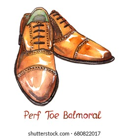 Brown leather perf toe balmoral shoes, isolated with inscription, hand painted watercolor illustration