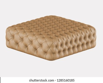 Brown leather pouf Capitone on a white background 3d rendering