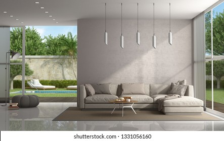 Brown living room of a modern villa with pool on background - 3d rendering