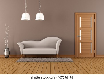Brown living room with white sofa and closed door - 3d rendering