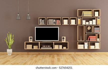 Brown living room with wooden bookcase and home cinema system - 3d rendering