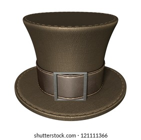 A brown material mad hatters hat with a brown leather belt  and buckle on an isolated background