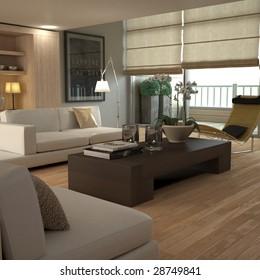Brown modern interior (3D render - all visible elements self-modeled)