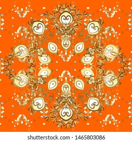 Brown and orange and golden pattern. Elegant classic pattern. Seamless abstract background with repeating elements.