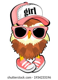 brown owl with pink sunglasses and cap