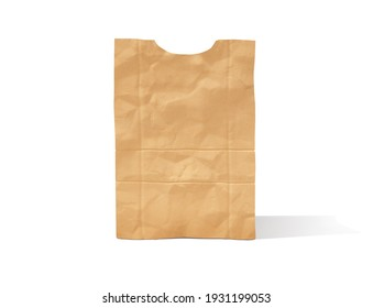 Brown paper bag isolated on the white background. 3d illustration