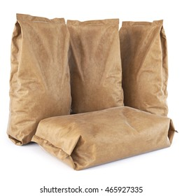 Brown paper bags. isolated on white background. 3D illustration.