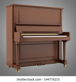 brown piano isolated on gray background