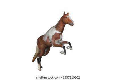 brown piebald Horse jumps and runs in the field 3D rendering