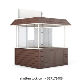 Brown promo counter isolated. 3d rendering.