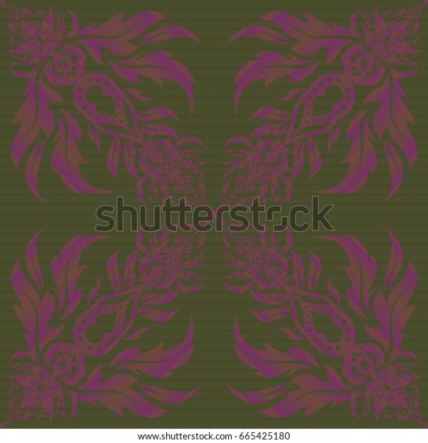 Brown, purple and green seamless pattern good for greeting card for birthday, invitation or banner. Medieval royal pattern. Decorative symmetry arabesque.