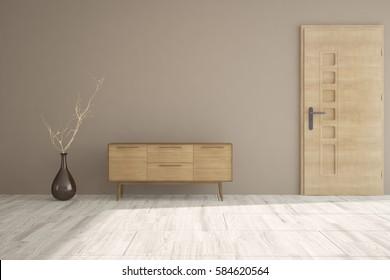 Brown room with door and shelf. Scandinavian interior design. 3D illustration