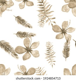 Brown Seamless Exotic. White Pattern Art. Gray Tropical Plant .Flower Vintage. Drawing Plant. Flora Painting. Wallpaper Palm. Spring Leaves.