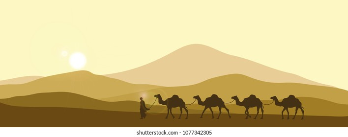 The brown silhouette of the caravan in the desert. Camels in the sands. African landscape.