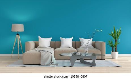 brown sofa modular in blue living room, 3D rendering
