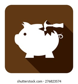 Brown Square Broken Piggy Bank With Hammer Flat Long Shadow Style Icon, Label, Sticker, Sign or Banner Isolated on White Background