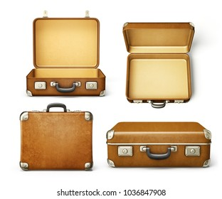 brown suitcase isolated on a white. 3d illustration