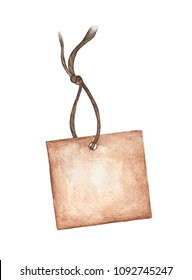 Brown tag isolated on white background, Cards with a cord , Watercolor illustration