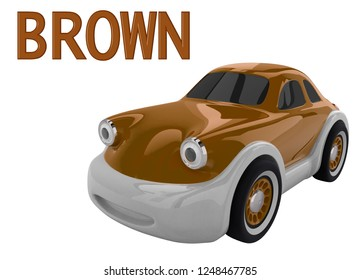 Brown toy car and an inscription with the name of the color. Isolated on white background. 3D render