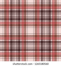 Brown traditional plaid fabric texture seamless pattern.