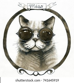 Brown watercolor retro cool cat in the round glasses in wooden frame with ribbon isolated
