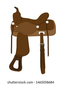 Brown western saddle cartoon illustration