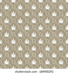 Brown and White Marijuana Leaf Pattern Repeat Background that is seamless and repeats