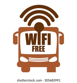 Brown Wifi Free on Bus Infographics Flat Icon, Sign Isolated on White Background