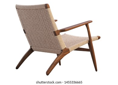 Brown wooden chair with wicker seat on white background. Mid-century wooden frame chair. 3d render