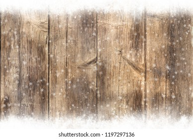 Brown wooden table, snowy winter background, texture