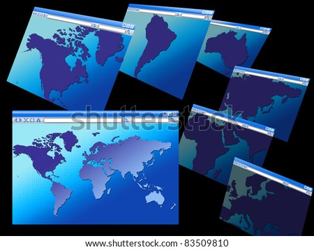 Browser windows maps various continents world stock illustration browser windows with maps of various continents and the world binary code background concept gumiabroncs Gallery