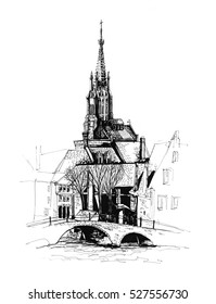 Bruges city Belgium architectural ink drawing