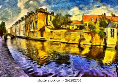 Brugge canal and buildings colorful oil painting