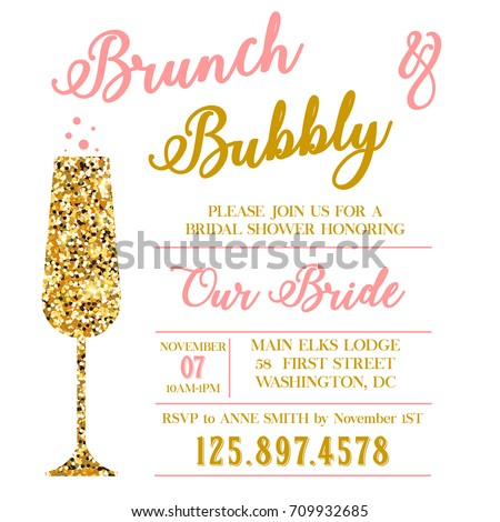 brunch bubbly bridal shower stock illustration 709932685 shutterstock