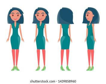Brunette in stylish outfits from all sides set. girls wear casual or elegant clothes. women and dresses raster illustrations summer animated mode.